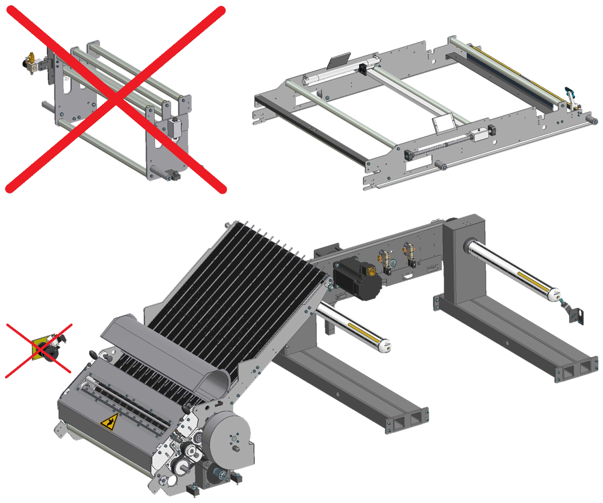 ZF010009/10 - Knife group with motorized blade for single and double lane SK shrinkwrappers, including tension rolls and servo-driven reel holder